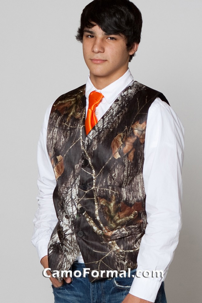 mens tie in realtree hunters orange