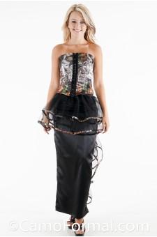 1844-S3037 Bustier Top Slim Camo Skirt with Net Peplum