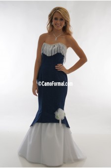 * 3808 Denim and Fringe Slim Mermaid with Tulle Skirt