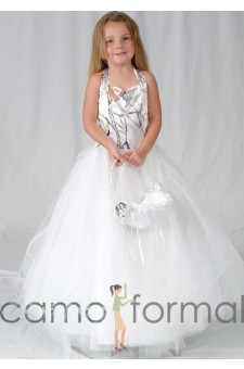 4041 Girls Halter Ballgown with Tulle