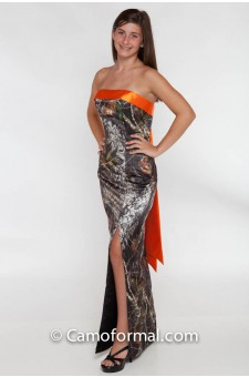 *HC 8073BS Slim Long Dress with Band-Bow Sash