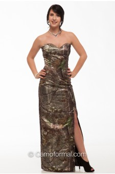 8073SS Sequin Sweetheart Camo Long Dress