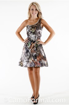 8086 Camo Short Aline Cold Shoulder with Rhinestones