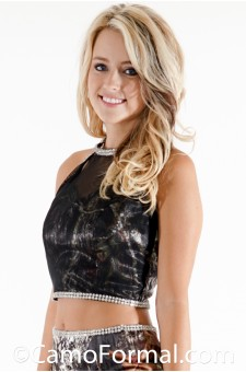 *9061 Camo halter top with black mesh and rhinestone trim