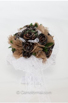 Camo and Burlap Bridal Bouquet