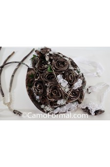 *Camo Wedding Bouquet, Beach Sandals, Hair Comb, Garter