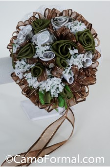 *Camo Roses and Ribbon Bridal Bouquet
