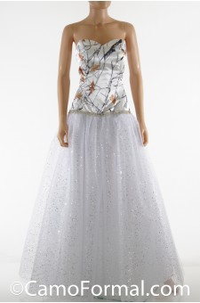 3655RTGN Camo and Glitter Net Ball Gown
