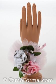 Camo Corsage, 2 Roses Wrist-Camo