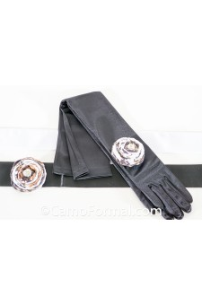 Over the Elbow Gloves with Flat Wrap Rose on Pin