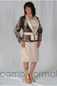 MOBJ6 Mother's 2 Piece, T-Length, Jacket with Petal Bows