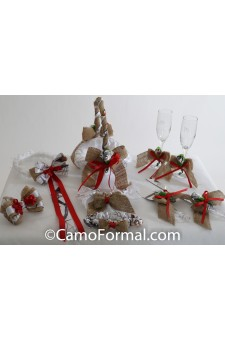 Camo Burlap and Ribbon Bow 6 piece Collection