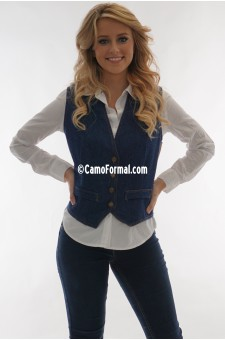 *Women's Denim Slim Vest with Jean Buttons