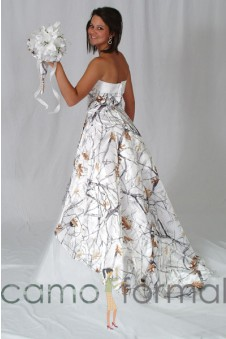 "SALE 3010 White Snowfall True Timber ""Madeline"" Hi-Low Wedding Gown with Train"
