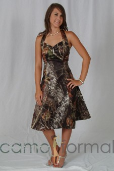 Sale 3048 Mossy Oak Halter A-Line Knee Length