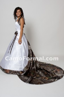 "* 3056 ""Annabeth"" Tie Back Halter Camo Trimmed - Detachable Train"