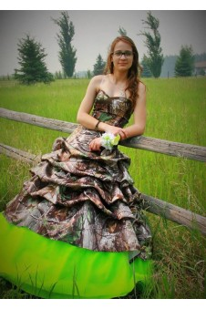 3066 Camo Ball Gown with Pickup Skirt