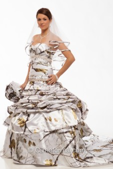 * 3140 All Camo and Faux Crystals Wedding Gown