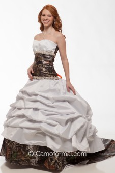 "* 3140 ""Tina"" Camo and Faux Crystals Wedding Gown"