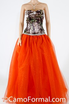 3655 RTGN  Camo Ball Gown - Rhinestone Trim & Glitter-Net