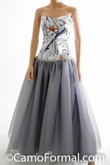 3655RTGN Camo and Silver Glitter Net Ball Gown