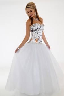 * 3655 RTGN  Camo Ball Gown with Rhinestone trim and Glitter net skirt