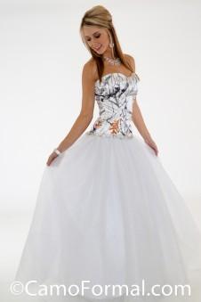 * 3655 RTGN  Camo Ball Gown-Rhinestone Trim & Glitter Net