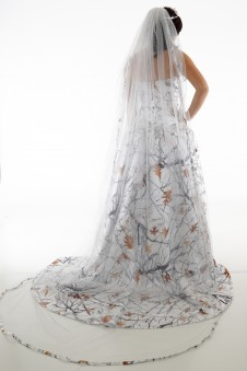 Camo Cathedral Floor Length Glitter Net Veil