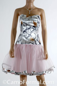 3660 Short Dress with Camo Skirt Trim