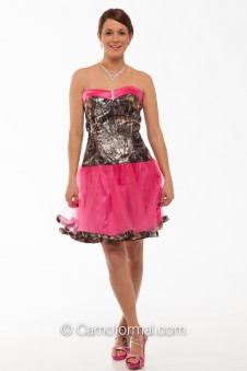 "*3660 ""Payton"" Short Sweetheart Dress with Camo Trim"
