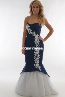 * 3808 Denim and Applique Slim Mermaid with Tulle Skirt