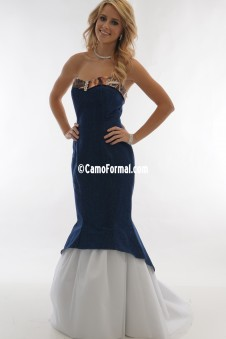 * 3808 Denim and Camo Slim Mermaid with Tulle Skirt