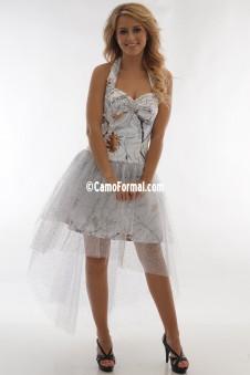*PR 3987 Halter Hi-Low Glitter Net Skirt