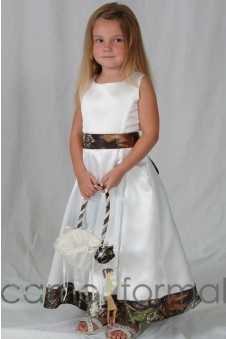 Sale 5151 Girls Tea Length with Trimmed Hem and Sash