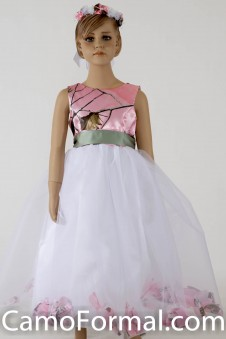 "5602 ""Morgan"" Camo Top Petal Flower-girl dress"