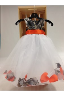 "*5602 ""Morgan"" Camo Top Petal Flower-girl dress"