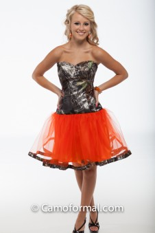 "*3660 ""Payton"" Short Ball Gown with Camo Trim"