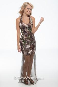 6331 Camo Halter with Glitter Mesh Skirt