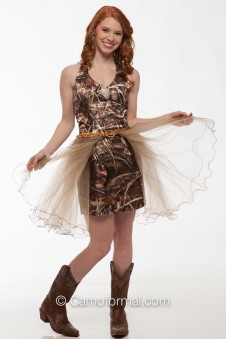 6331 Short Camo Halter with Tulle Skirt