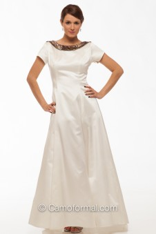 "8011 ""Maria"" Camo A-line Wedding Dress with Sleeve"