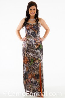 8072 Camo Long Dress with Rhinestone Trim