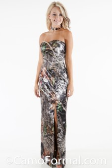 * 8073RS Slim Long Camo Dress with Rhinestone Trim