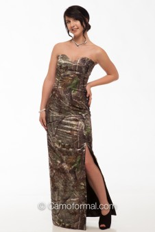 * 8073 Slim Sweetheart Long Camo Dress