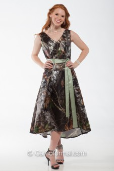 "*BM8591 Sleeveless Camo Dress ""V"" front and back neckline"