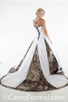 * 8890 A-Line Halter Wedding Gown with Camo Godets