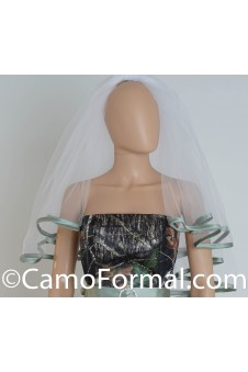 Veil, Waist Length, Ribbon Edged