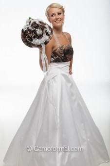 "8996 ""Monique"" Extra Full A-line Camo and White Wedding Gown"