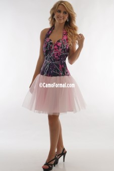 9054-3660 Camo Halter Net Short Dress