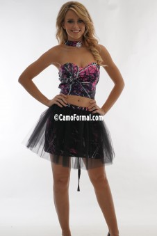 9062 Two Piece Camo with Tulle Overskirt