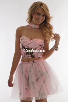 9062 Two Piece Crop Top Camo with Tulle Overskirt